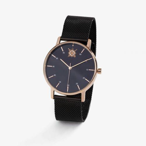 Montre unisexe Pierre Lannier / Sénat - cadran noir 38mm et bracelet acier milanais noir