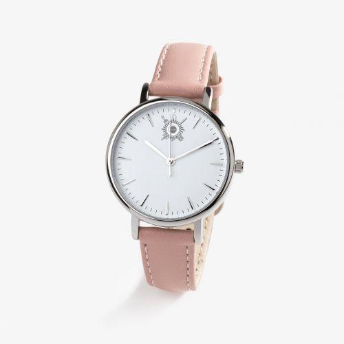 Montre pour femme Pierre Lannier / Sénat - cadran blanc 32mm et bracelet cuir rose