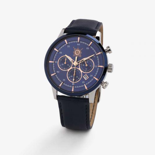 Montre homme Pierre Lannier - bracelet cuir bleu marine